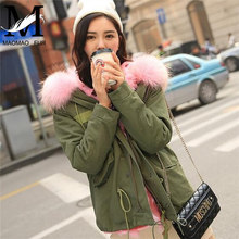 2016 Top Fashion Winter Women coats Real Fox Fur Lined Jacket Hooded Parka Military