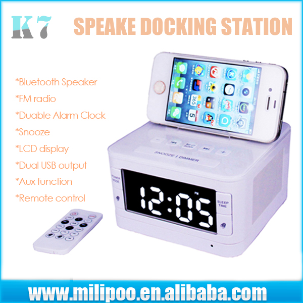 K-7 Music Blue-tooth Speaker Portable Docking Station With Calendar Radio Alarm Clock TF Slot