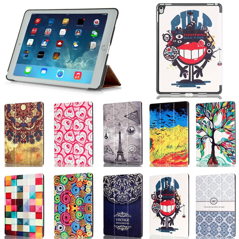 2016 Colorful printed leather case cover for ipad pro 9.7,for ipad pro skin protective case
