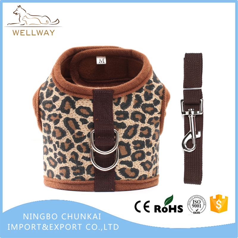 Adjustable Leopard Pattern Pet Harness Vest and Leash Set with hand leash Mesh for Puppy Small Medium Dogs