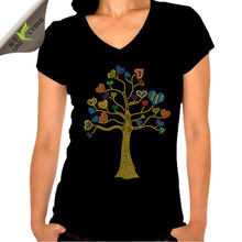 Beautiful love heart tree female v-neck t-shirt