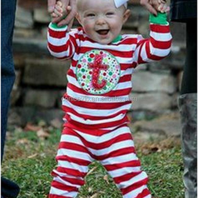 wholesale baby girls christmas pajamas sets kids red white stripes winter sleepwear cotton pajamas children boutique - Wholesale Christmas Pajamas