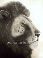 Handmade white and black oil painting of lion face, High Quality Lion Portrait Oil Painting
