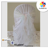 Wedding decoration ruffle chair covers and organza willow curly chair sashes with buckle