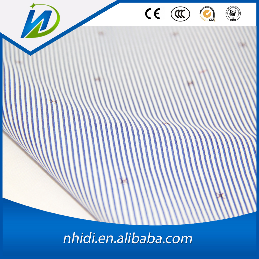 LC 120days payment 100 cotton white and blue stripe shirting fabric