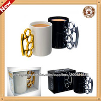 Brassed Knuckle Silver and Golden handle ceramic coffee mugs Straight body boxing cup/largest ceramic beer mug