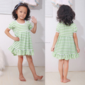 short sleeve aqua striped summer children cotton dresses simple girl dress