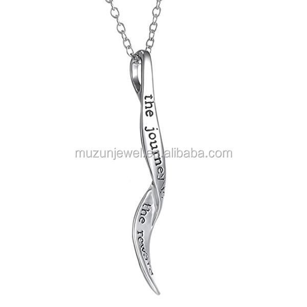 Personality The Journey Is The Reward Letter Jewelry 925 Sterling Silver Pendant Necklace