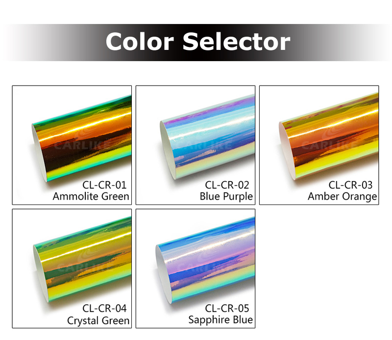 CARLIKE Crystal Green Colorful Sticker Chrome Rainbow Holographic Car Vinyl Wrap