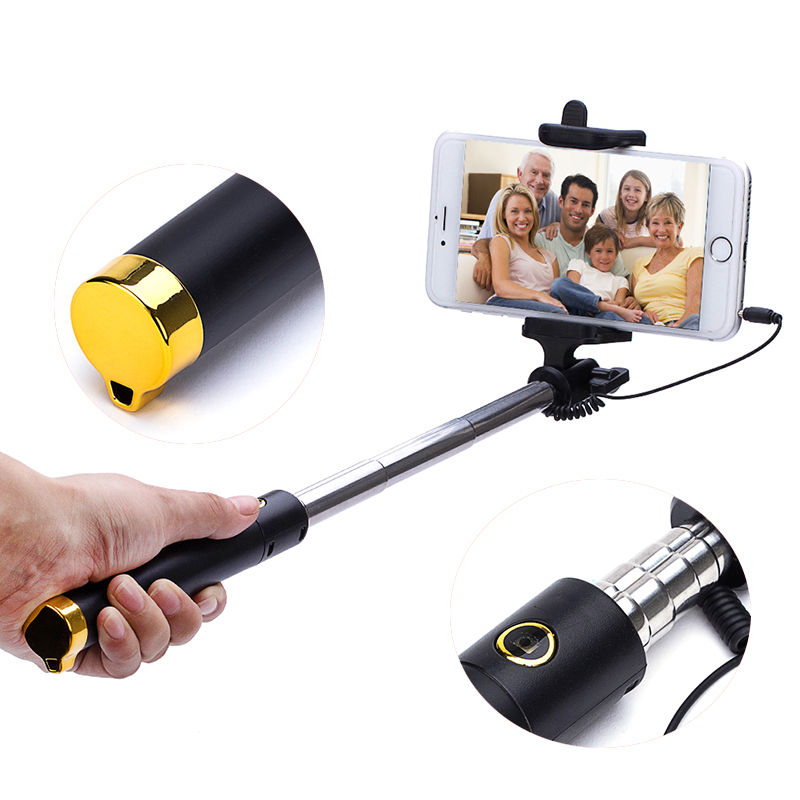 2017 Hot!BHD Extendable handheld wireless portable all-in-one mini bluetooth selfie stick with built-in shutter for iphone