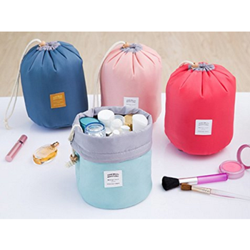 Cosmetic Pouch Handbag Toiletry Bag Barrel Shaped Travel Cosmetic Bag Round Drawstring Makeup Organizer Storage Bag