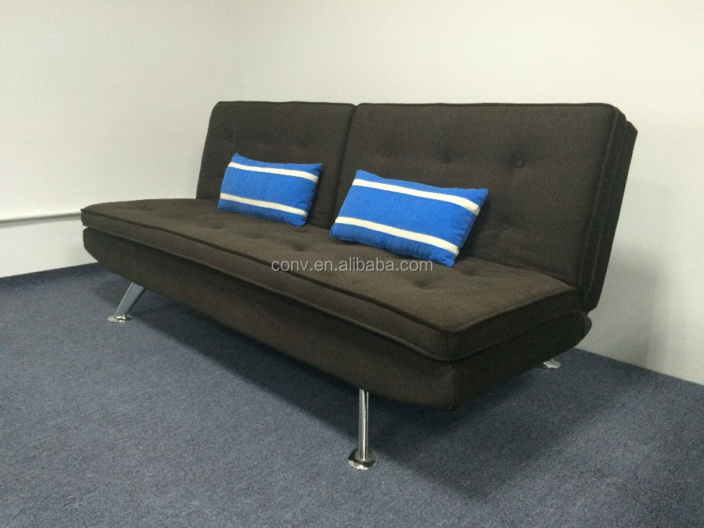 Double Size Wood Frame Sofa Bed With Dark Color Fabric
