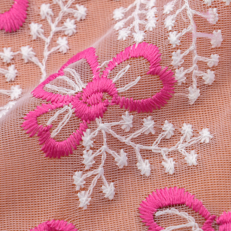 Colorful japanese chemical water soluble embroidery tulle lace fabric