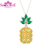 New Statement Fashion Pineapple 925 Sterling Silver Necklaces & Pendants for Women Gifts Simple Style Fruit Necklace Jewelry