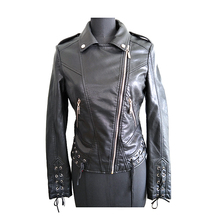 New tide fashion black leather biker motorcycle jackets coat for woman
