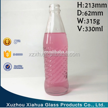 330ml spiral surface glass soft drink bottle for soda