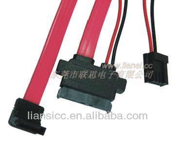 Flexible double 15pin sata cable with 18AWG and 26AWG