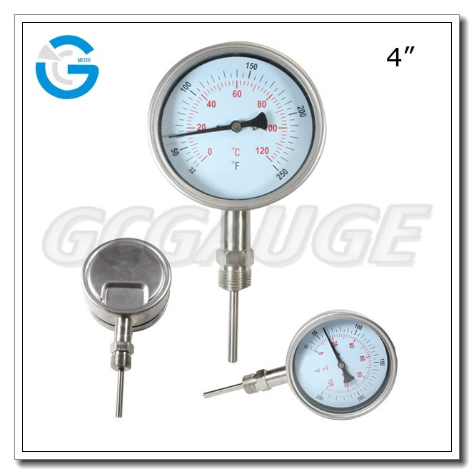 High Quality 4inch 100mm bottom connection Bimetal Temperature Thermometer with bayonet ring