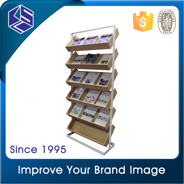 Convennient store small shops metal wooden magazine display rack simple design