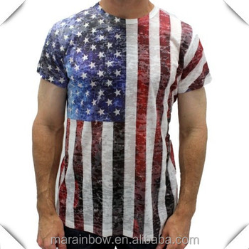 Mens Burnout Flag T Shirt Usa Flag Sublimated T Shirts