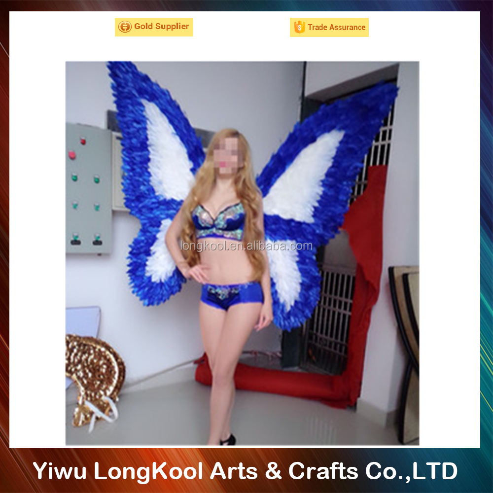 2016 High quality handmade adult feather angel wings blue and white fairy wings