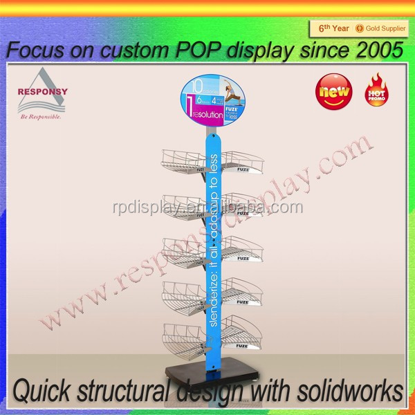 energy drink beverage display rack / metal beverage display holder for supermarket promotion