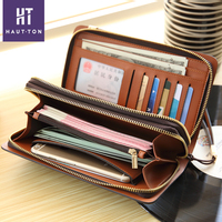 Wholesale Men's Leather long Card Holder Wallets Top Selling Zipper Leather Wallet Evening Clutch Bag