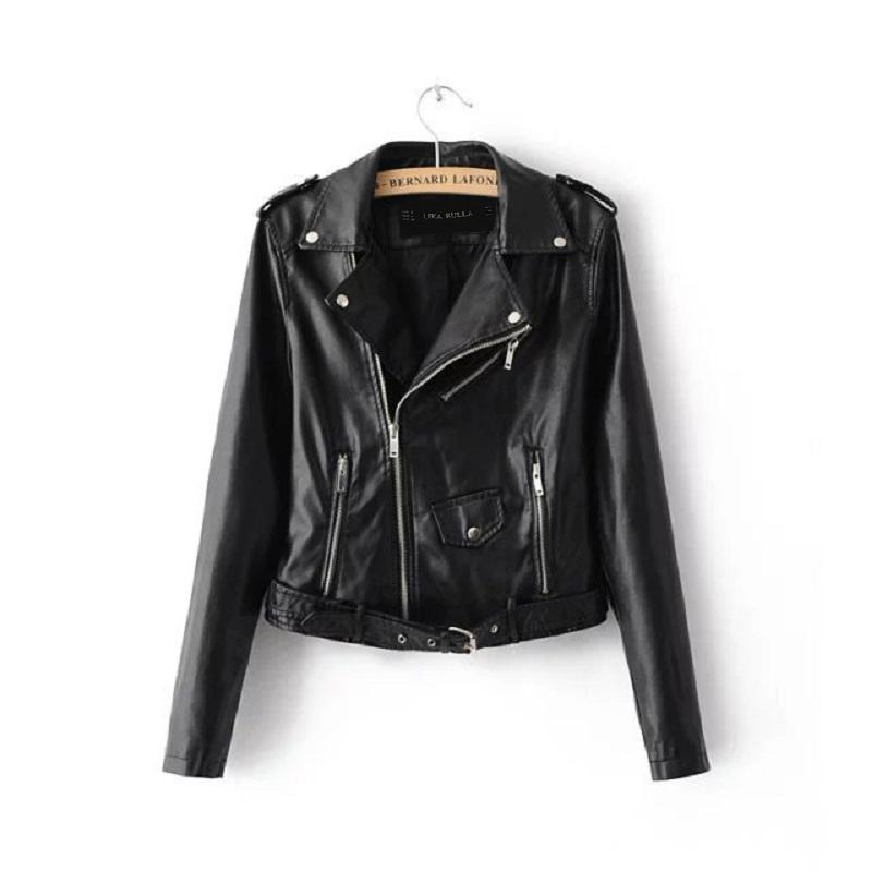 Women Basic Street Short PU Leather Jacket