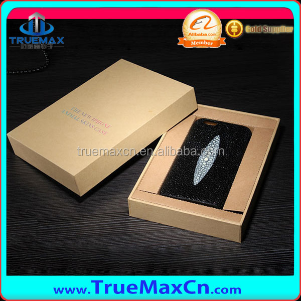 Customed Genuine Fish Skin leather case for iPhone 6 with Retail Packing Box