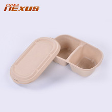 ISO Food Grade wholesale wheat straw fiber carry out food bento packaging pulp paper boxes container