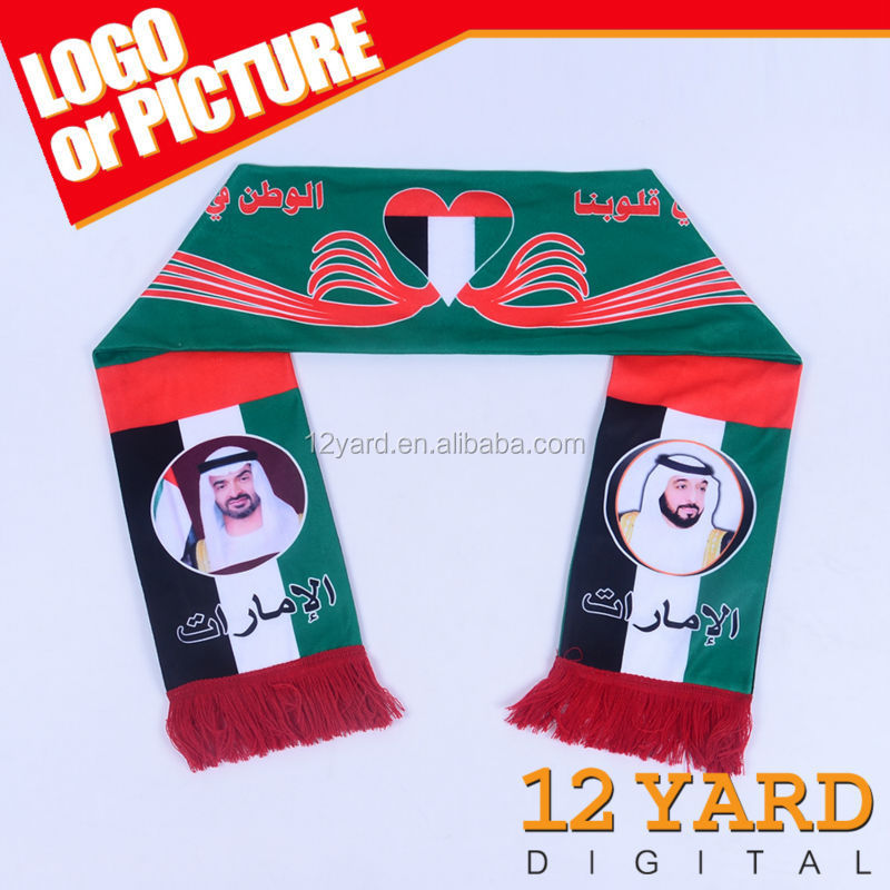 UAE nation religious colourful cross printed scarf,100% polyester cheap soccer neck scarf