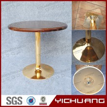 Stainless steel table base round dining table in wood material for banquet YC-T32