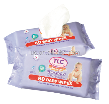 80pcs nonwoven soft baby wipes with lid/baby diaper