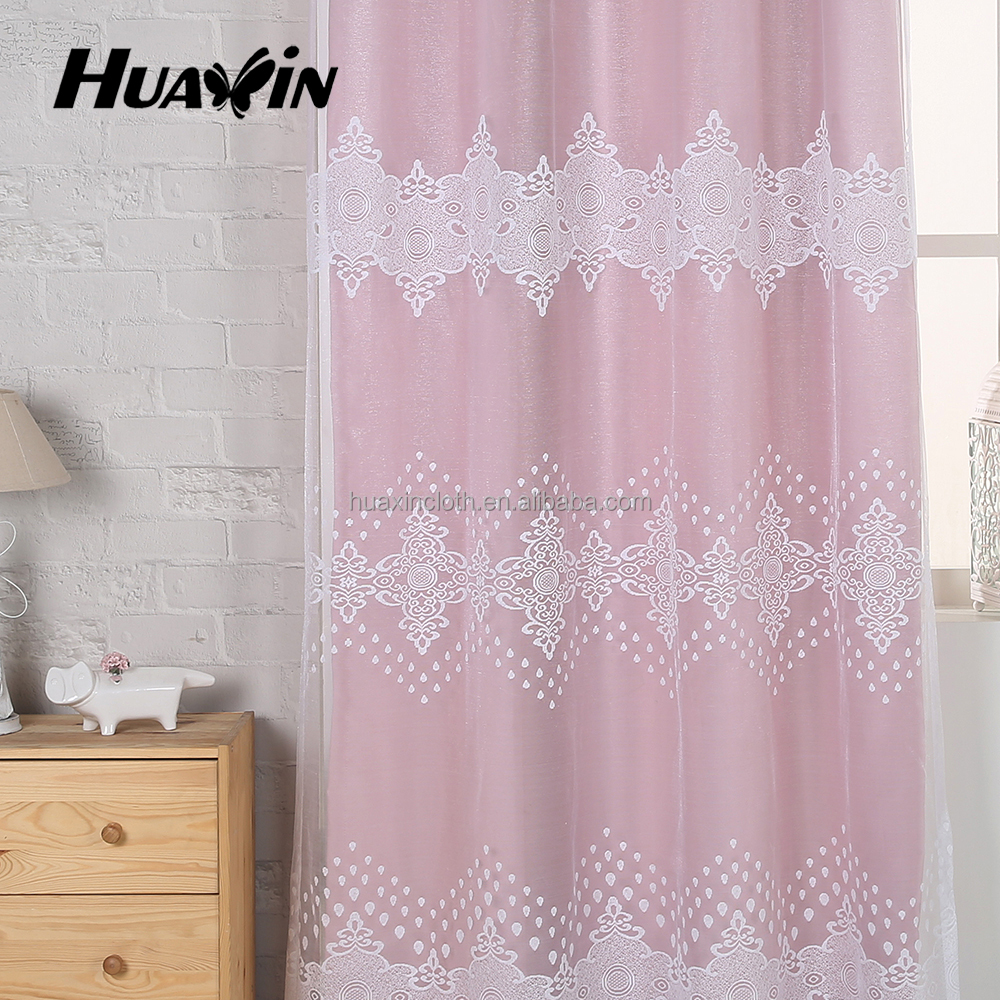 European-style villa living room upscale warp knitted cut velvet curtain fabric ready made curtain