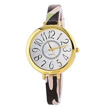 Casual Women Dress Leather Strap Ladies Big Thin Dial Dress Reloj Mujer Gold Plated Wrist Watch
