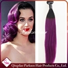 Malaysian ombre silver #1b/purple color human remy hair weave dark roots black hair weft purple straight hair