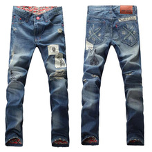 Men Crush Patches Pants Mustang Jeans With Jeans Stone Washing Machine