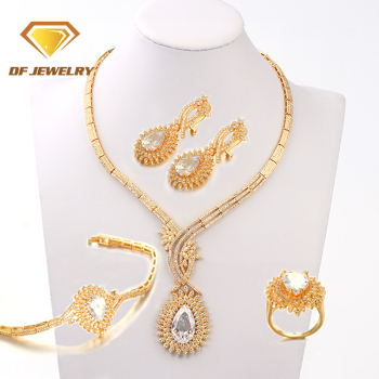 1710028 DengFeng Costume Jewelry CZ Drop Bridal Necklace,Earrings,Rings,Pendant Jewelry Set