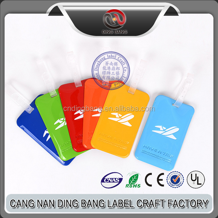 High Quantity Promotion Cheap Airline Souvenir Creative Candy Color Embossed PVC Luggage Tag