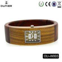 Round circle wood wrist watch natural sandal wood quartz watch for fashionable women and men