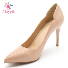 New Arrival PU Patent Slip-On Pointed Toe Office Wear Fashion Ladies 12cm High Heel Pump Shoes Women 2017