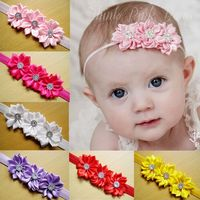 Fashion Infant Toddler kids hair accessories baby flower headband rhinestone