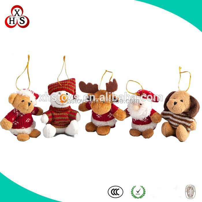 cheap 10-15cm christmas decorative gift plush small keychain