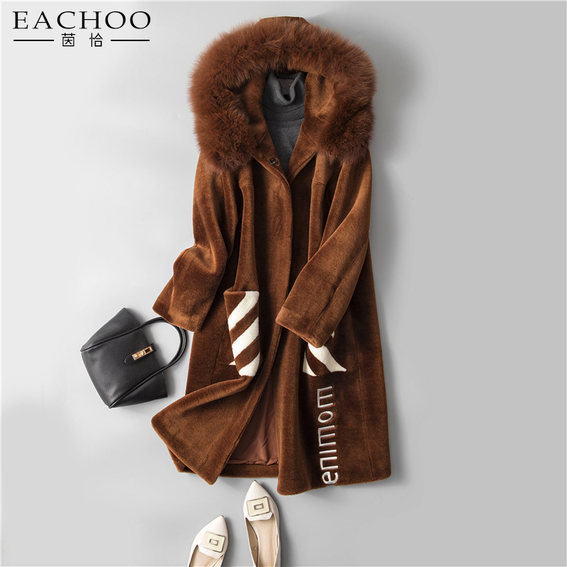 Factory direct supply real sheep lamb leather long coat with fox hood
