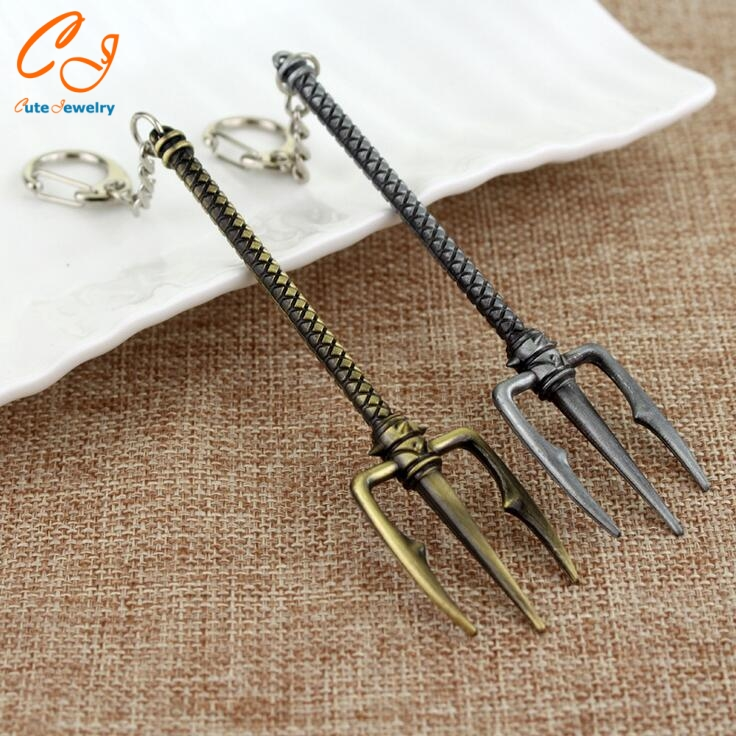 LOL Trident Keychain Weapon Axe Pendant Metal Key Chains Games Theme Keychains