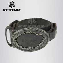 Western Black Genuine Cowhide Leather Classical With Antique Sliver Plaque Rope Covered buckle Belt