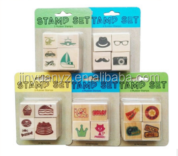 china factory customize eco-friend cartoon wooden stamp teacher stamp for kids use