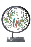 Metallic Round Inside Two Love Birds On Branch Designed Show Piece