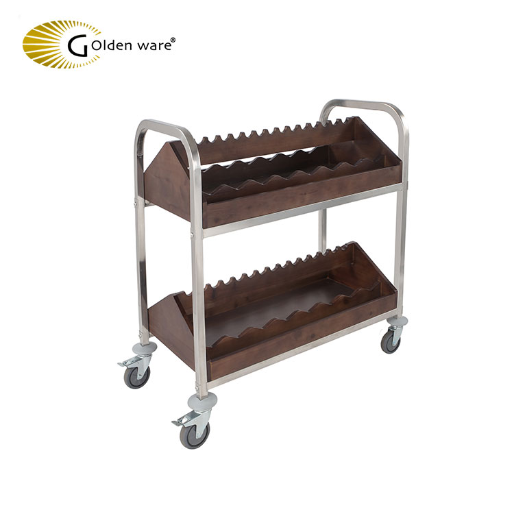 Golden Ware Stainless steel SS 201 Hotel Restaurant room liquor service trolley