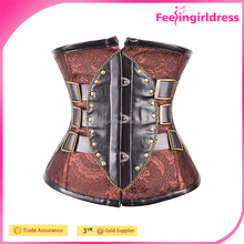 Cheap Brown Leather Corset Underbust Womens Steampunk Corsets Wholesale
